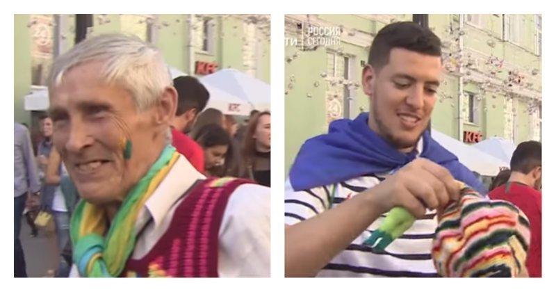 Юрий Белов вяжет и дарит футбольным фанатам сувениры на память о чемпионате мира: видео