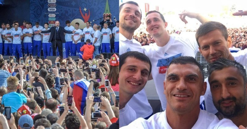 Футболисты сборной России встретились с болельщиками и поблагодарили за поддержку