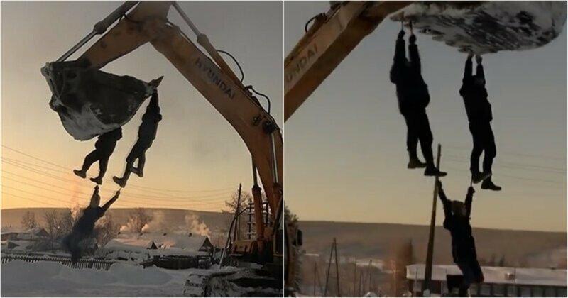 Зимние забавы русских: красноярцы в мороз прокатились на ковше