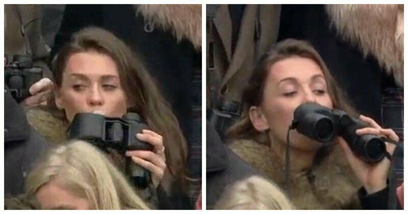 Зрительница Челтнемских гонок пронесла горячительное в бинокле, но попала в поле зрения оператора
