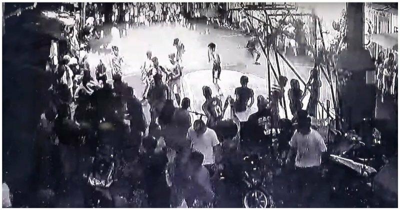 Взрыв прожекторов  на баскетбольном матче попал на видео