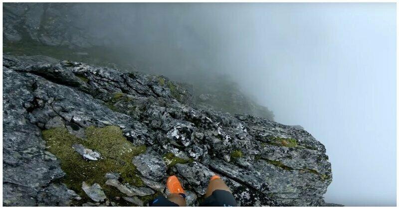 Головокружительное видео пробежки спортсмена по норвежским горам
