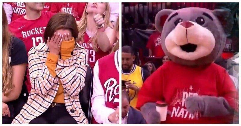 Талисман баскетбольной команды встретил Мать Драконов на матче