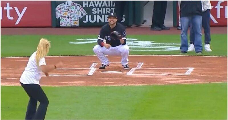 Женщина сделала впечатляющий бросок бейсбольного мяча,  но забыла уточнить, куда ей надо целиться
