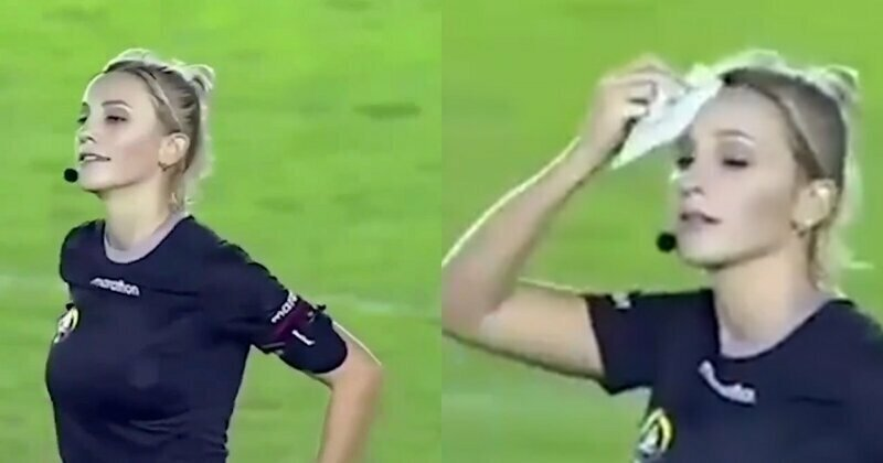 Девушка-рефери пошутила над футболистом, достав вместо карточки носовой платок
