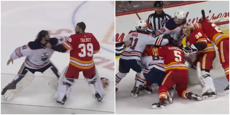 Матч НХЛ превратился в настоящую бойню из-за драки вратарей