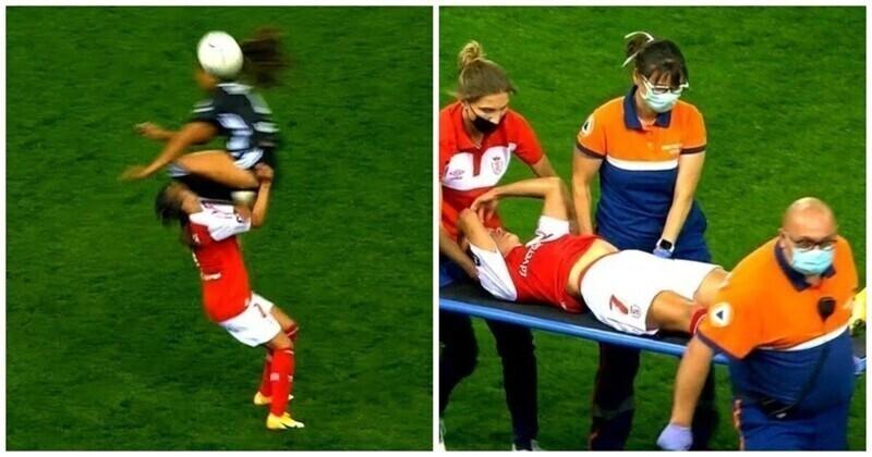 Французская футболистка в полете нокаутировала соперницу