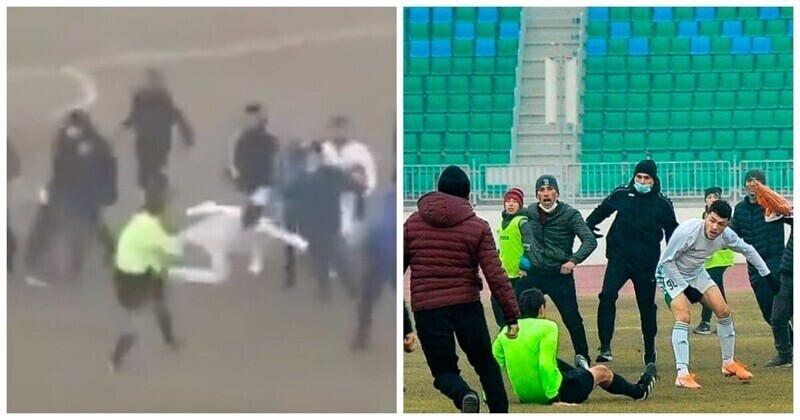 В Узбекистане футбольный матч закончился избиением арбитров