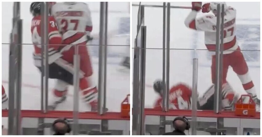 """Андрей Свечников эффектным силовым приемом уложил на лед хоккеиста """"Чикаго"""""""