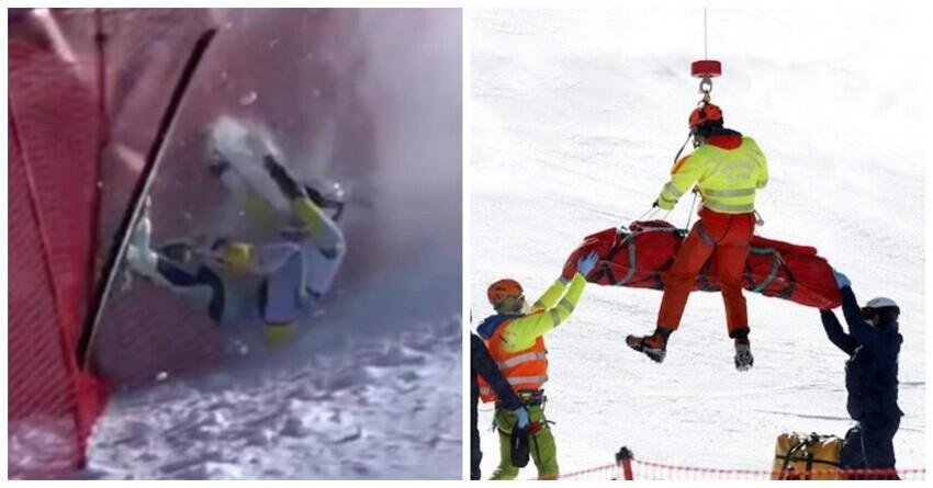 Двух лыжниц пришлось эвакуировать вертолетом после жутких падений на Кубке мира