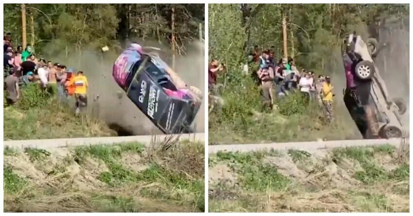 На ралли в Ленобласти кувыркающийся автомобиль пролетел в сантиметрах от зрителей