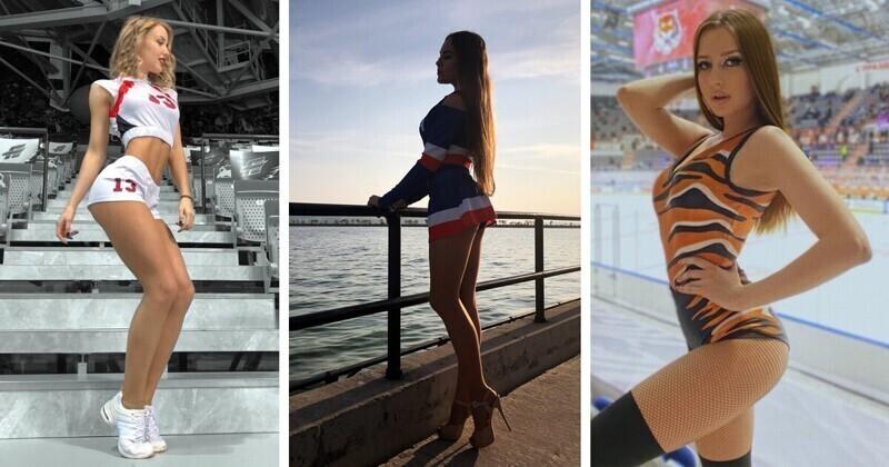 Участницы групп поддержки российских хоккейных команд, ради которых приходят на ледовые арены