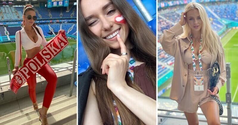 Самые горячие болельщицы матча Польша - Словакия со стадиона в Питере