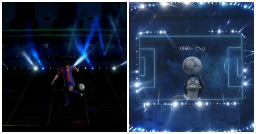 На Кубке Америки устроили захватывающее лазерное 3D-шоу в честь Диего Марадоны