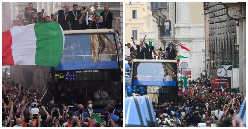 Итальянская сборная по футболу проехала парадом по улицам ликующего Рима