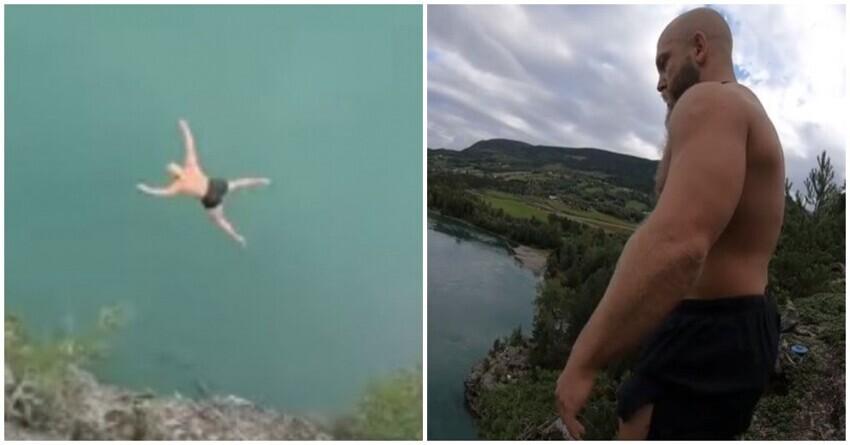 Норвежский ныряльщик совершил «прыжок смерти» и побил мировой рекорд