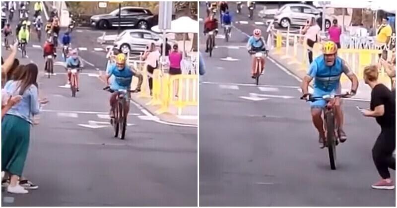 Выбежавшая на трассу девушка сбила велогонщика на финишной прямой