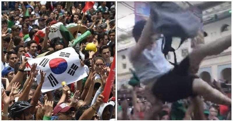Мексиканские болельщики носят корейцев на руках в благодарность за победу над сборной Германии Мексика, болельщики, видео, мексиканские болельщики, реакция, спорт, чемпионат мира, южная корея