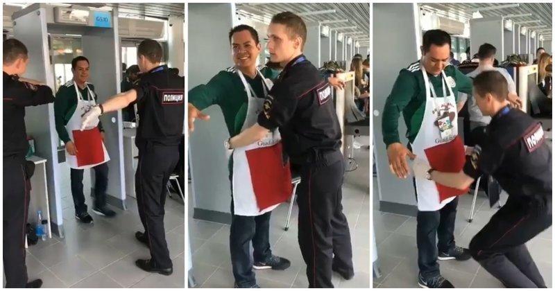 Мексиканский болельщик подшутил над сотрудником российской полиции Мексика, видео, обыск, прикол, розыгрыш, россия, фартук, футбол