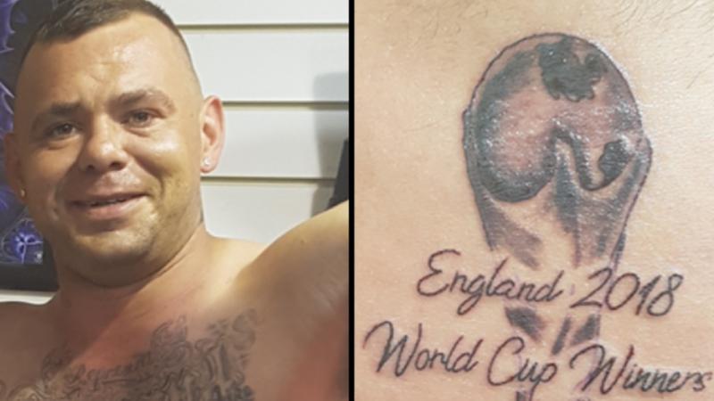 ЧМ-2018 ещё не закончен, но британский фанат уже определил победителя. И запечатлел в татуировке в мире, люди, спорт, тату, татуировка, фанат, футбол