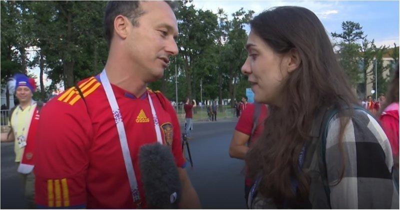 Испанский болельщик достойно прокомментировал поражение своей сборной Испания, болельщик, видео, россия, спорт, футбол, чемпионат мира
