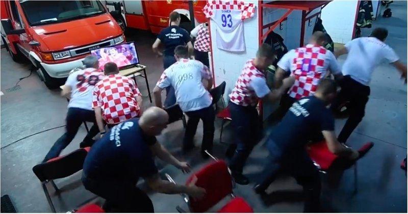 Работа превыше всего: хорватские пожарные бросились на вызов во время решающего пенальти своей сборной Хорватия, видео, пожарные, пожарный, россия, спорт, футбол, чемпиона мира