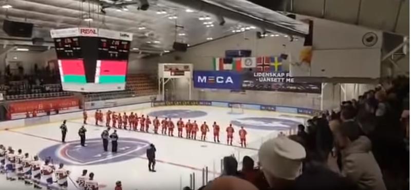 """Вместо белорусского гимна хоккеистам перед матчем включили хит """"Песняров"""" meca hockey game, видео, гимн, норвегия, смешно, спорт, хоккей"""
