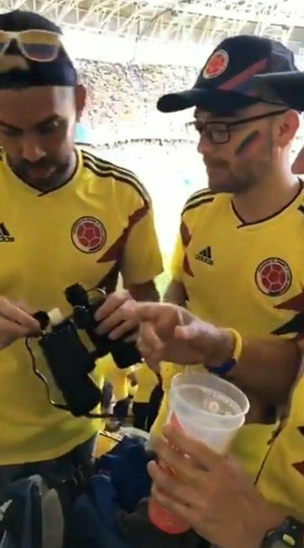 Подобным запрещенным приемом пользовались колумбийские болельщики на прошлогоднем чемпионате мира по футболу в России