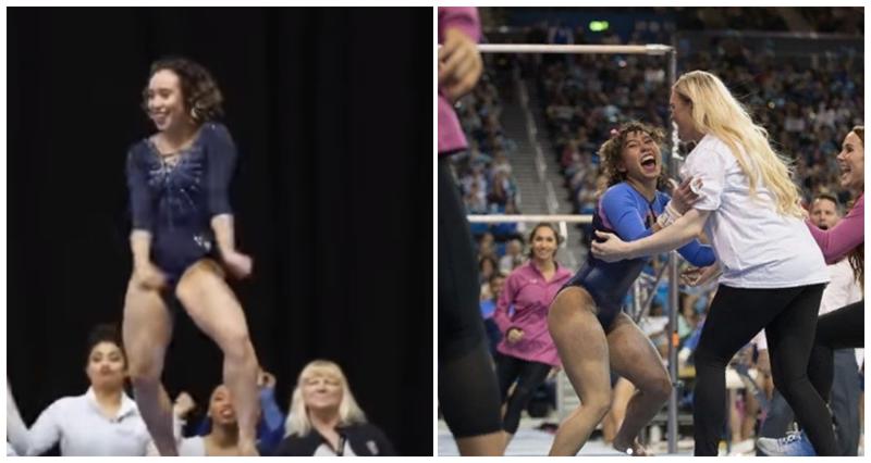Зажигательное выступление озорной гимнастки поразило всех видео, гимнастка, девушки, интересное, спорт, спортивная гимнастика, талант