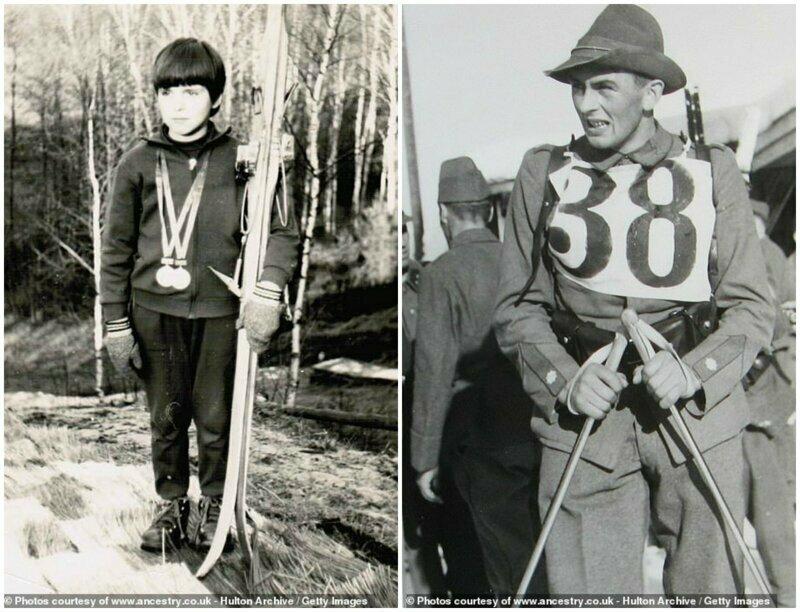 Слева - уже 1973 год, лыжник в медалях гордо держит свои лыжи. Справа - молодой человек, участвующий в лыжных гонках