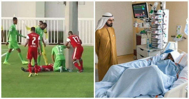 Футболист влетел головой в стоявший рядом с футбольным полем столб видео, спорт, столкновение, травма, удар, футбол, футболист