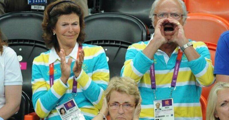 Король Швеции так яростно болел за свою сборную, что разжёг войну фотошоперов болельщик, король, прикол, спорт, фотошоп, юмор