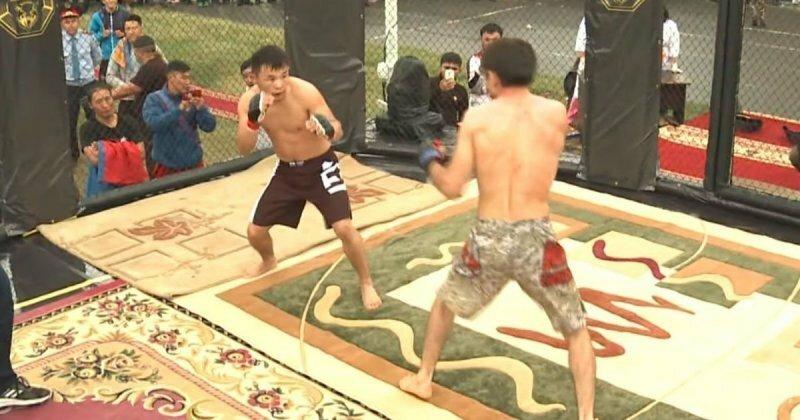 Казахстанец отправил монгола в глухой нокаут бой, видео, единоборства, жекпе-жек, спорт