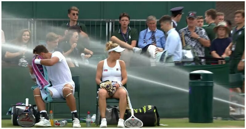 Взбунтовавшаяся на теннисном матче система полива корта попала на видео