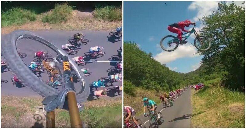 """Сорвиголова перелетел группу гонщиков во время этапа """"Тур де Франс"""""""