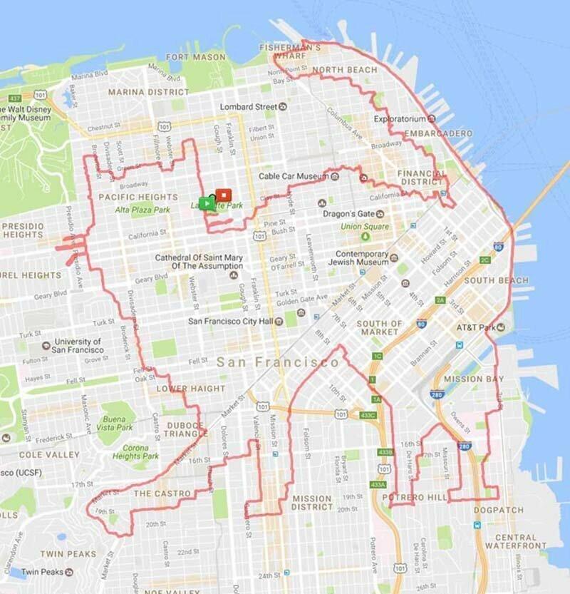 Бегун использует карту в качестве холста, создавая рисунки своими маршрутами пробежек