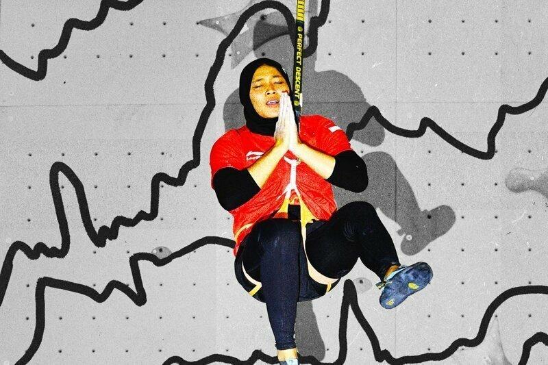 Скалолазка из Индонезии забралась на отвесную стену всего за 7 секунд