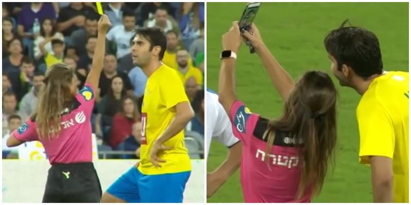 Девушка-арбитр показала жёлтую карточку любимому футболисту ради селфи