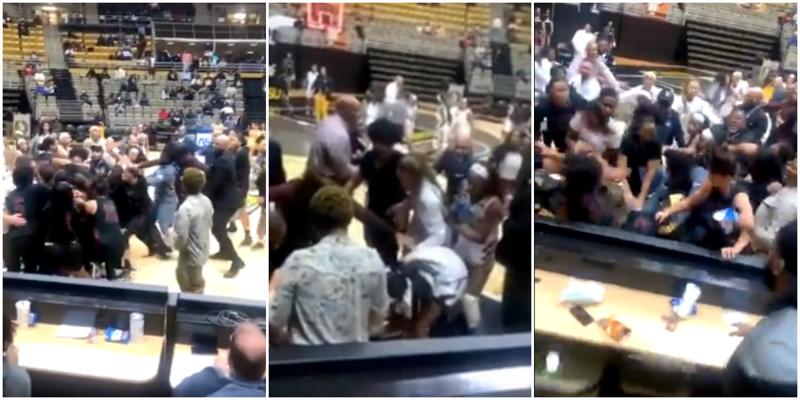 Женский матч по баскетболу закончился массовой дракой «стенка на стенку»