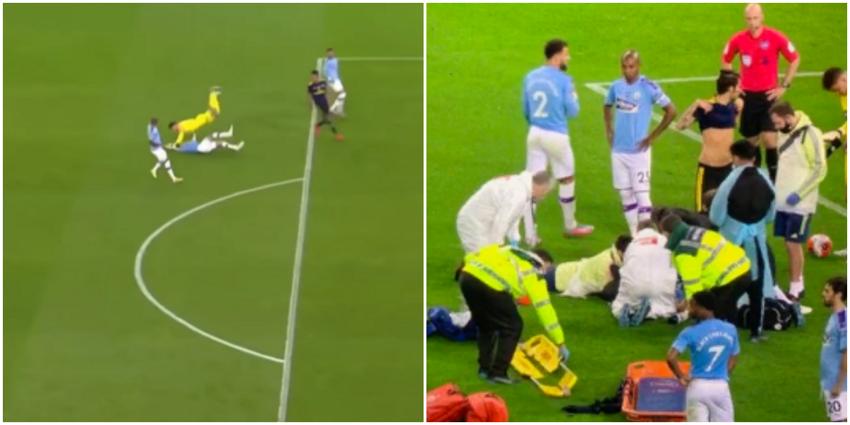 Голкипер «Манчестер Сити» врезался в своего одноклубникаи отправил его в нокаут