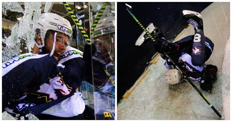 Хоккеист настолько обрадовался голу, что разбил защитное стекло и вылетел за пределы поля