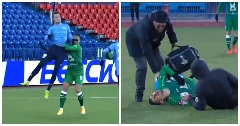 """Игрок""""Рубина"""" получил удар локтем и потерял сознание прямо на поле"""