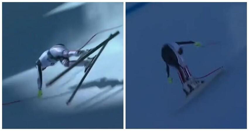 Горнолыжник упал на скорости 150 км/ч и  продемонстрировал чудеса координации