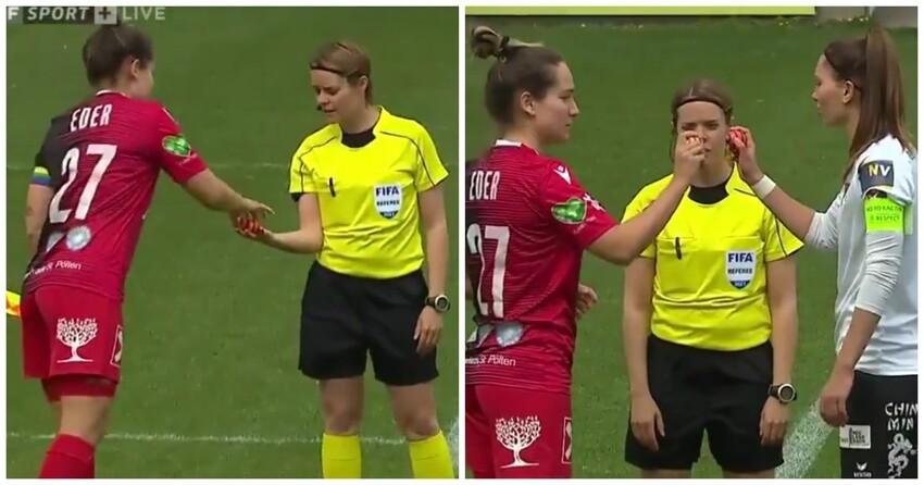 В Австрии капитаны женских футбольных команд   перед матчем сразились пасхальными яйцами