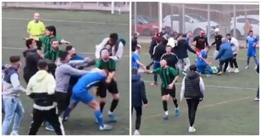 В Испании футбольный матч закончился массовой дракой с участием фанатов