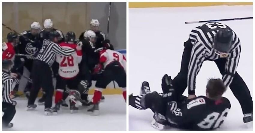 """Хоккеисты """"Трактора"""" и """"Нефтяника"""" устроили массовую драку в финале ЮХЛ"""