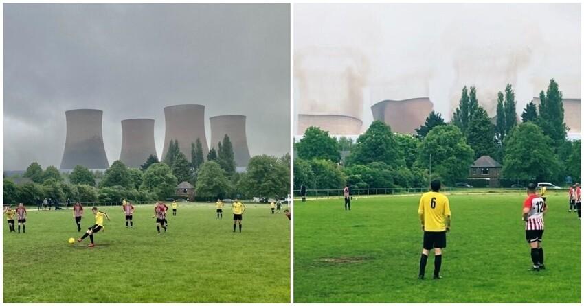 В Англии футбольный матч прошел на фоне взрыва огромной ТЭЦ