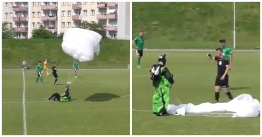 Парашютист приземлился на поле во время футбольного матча и получил желтую карточку