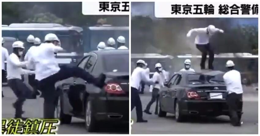 Перед Олимпиадой японские полицейские устраивают учения, на которых разбивают машины