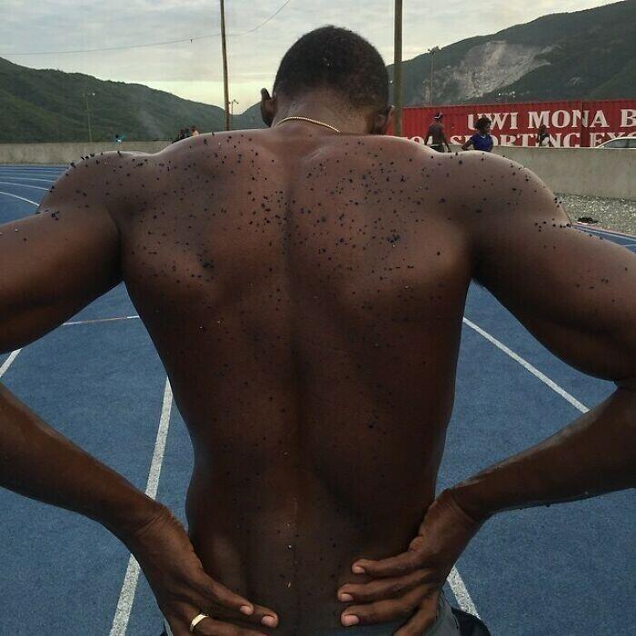 Во время легкоатлетических забегов мелкие частицы нагретого полиуретана с беговой дорожки летят из-под шиповок на спины спортсменов
